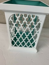 Yankee Candle White Mediterranean open top lantern white teal candle holder - $18.66