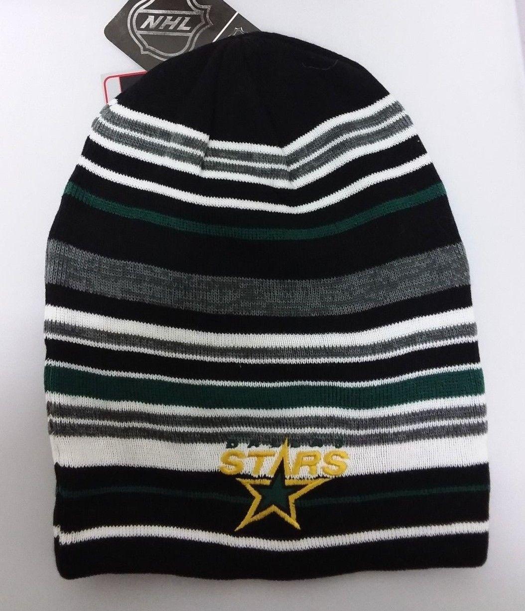 df16a0f64e3 57. 57. Previous. Dallas Stars NHL Reebok Stripe Winter Fitted Cuffless Knit  Beanie Hat Skull Cap · Dallas Stars NHL Reebok ...