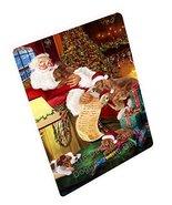 Irish Setter Dog and Puppies Sleeping with Santa Art Portrait Print Wove... - $88.11