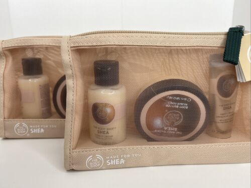 2 The Body Shop Shea Shower Cream Lotion Body Butter Beauty Bag Gift Set 3 Piece - $31.68