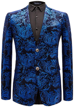 Lavnis Men's Dress Floral Suit Jacket Casual Notched Lapel Slim Fit Two ... - $73.57