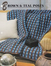 Brown and Teal Posts, Annie's Crochet Quilt & Afghan Pattern Leaflet QAC375 - $6.95