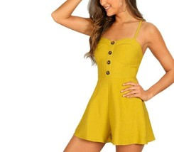 Sexy Summer Yellow Solid Sleeveless Woman Romper High Waist Button Decor... - $26.09