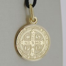 SOLID 18K YELLOW GOLD ST SAINT BENEDICT 15 MM MEDAL WITH CROSS, MADE IN ITALY image 2