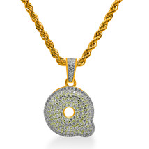 """925 Sterling Silver Gold Plated Custom Iced Out Bubble Letter """"Q"""" with 24"""" Chain - $79.99"""