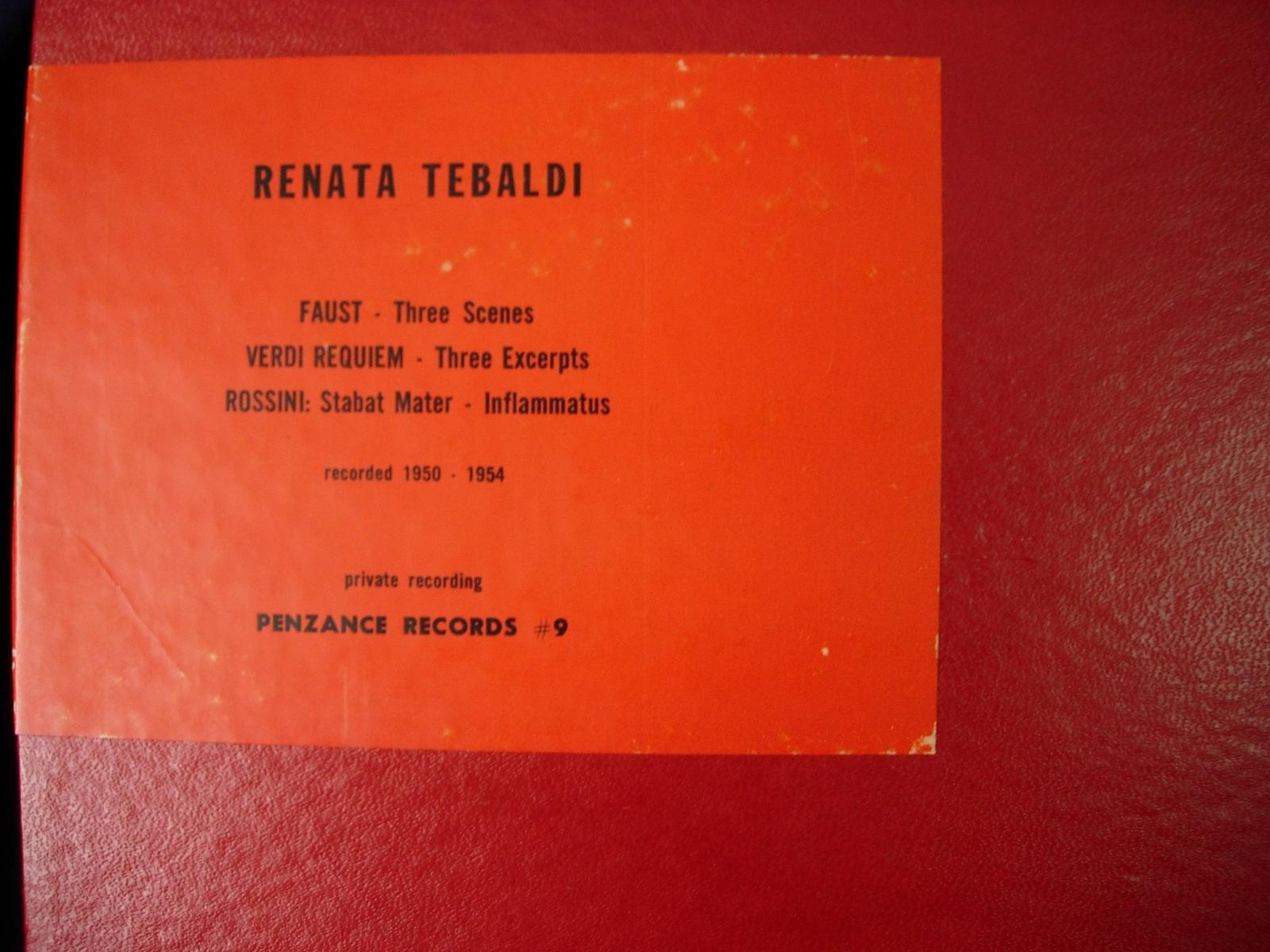 RENATA TEBALDI - Private Recording PENZANCE RECORDS # 9