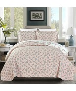 3-Piece Pink Rose Floral REVERSIBLE Vintage Washed 100%-Cotton Quilt Set... - $68.99
