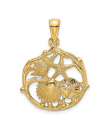 14K Yellow Gold 2-D Shell Cluster In Circle Charm (Length=19.05) (Width=... - $169.72