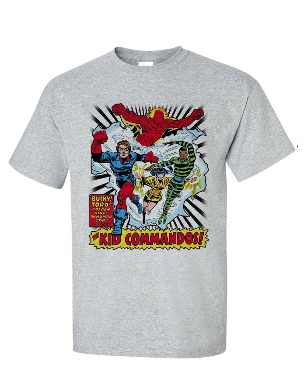 The Invaders Kid Commandos T-shirt vintage 1970's marvel comics silver age tee