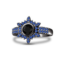 Black Diamond Womens Flower Shape Engagement Ring 14k Black Gold Over 925 Silver - $82.99