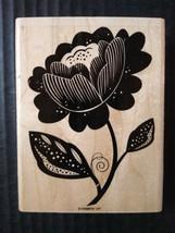 Stampin' Up Rubber Stamp Single Large Blooming Flower Stem Leaves Floral  - $14.95