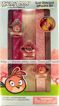 ANGRY BIRDS 5pc Set SLAP BRACELETS+Lip Gloss Pots BUBBLE GUM+STRAWBERRY+... - $8.99