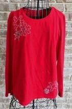Liz Claiborne long sleeve red top Sz L Beaded Snowflakes Cotton Spandex ... - $22.30