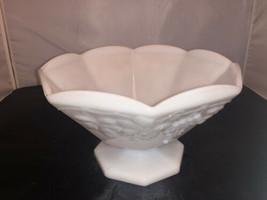 Milk Glass Bowl On Pedestal Grape Motif White - $34.32