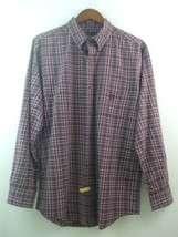 Chaps Men's Shirt Size Medium Cotton Herringbone Red Plaid Long Sleeve  - $19.75