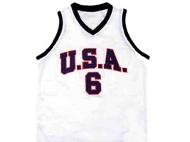 Lebron James #6 Team USA New Men Basketball Jersey White Any Size image 4