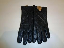 Michael Kors Size Medium Black Leather Womens Gloves  - $98.01