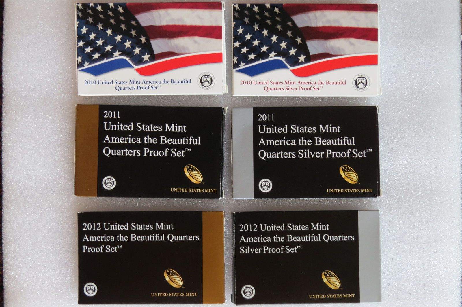 2010-2012 Amer. the beautiful $0.25 Proof coin sets, 5 clad & 5 silver/year