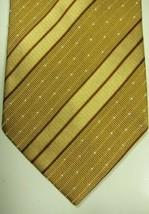 NEW Ermenegildo Zegna Gold With Fine Brown Stripes Silk Tie Made in Italy - $89.44
