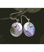 Sterling silver mother of pearl earrings, moon and star, oval dangle lig... - £28.47 GBP