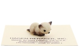 Hagen-Renaker Miniature Cat Figurine Tiny Siamese Kitten Lying Seal Point