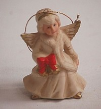 Classic Homco Angel Girl w Red Bow Hanging Christmas Tree Ornament Xmas ... - $6.92