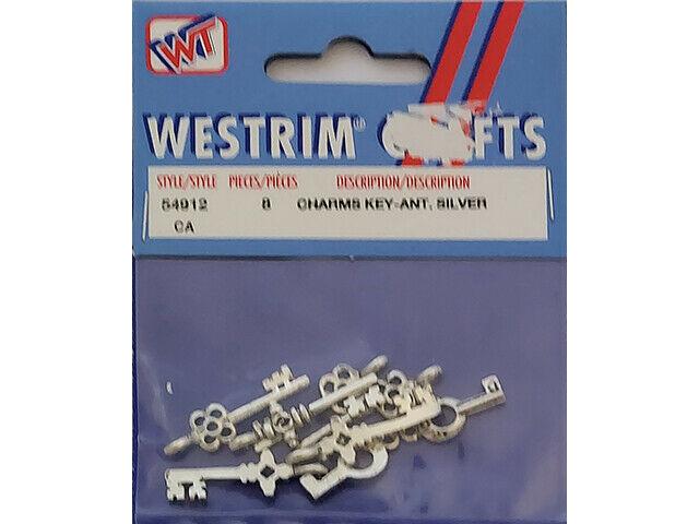 Westrim Key Charms, Antique Silver #54912-PE-053