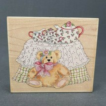Rubber Stamp Tea Party Teddy 70031 Teddy Bear Tea Pot Stamps Happen - $8.75