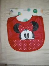 DISNEY STORE MINNIE MOUSE RED VINYL BIB WITH CATCH ALL POCKET NEW W/T - $12.99