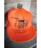 80s 90s Vintage Funny Work Stress Retro Neon Orange Snapback Trucker Hat... - $33.85