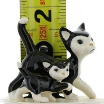 Hagen Renaker Cat Black and White Tuxedo Papa and Kitten Ceramic Figurines image 2