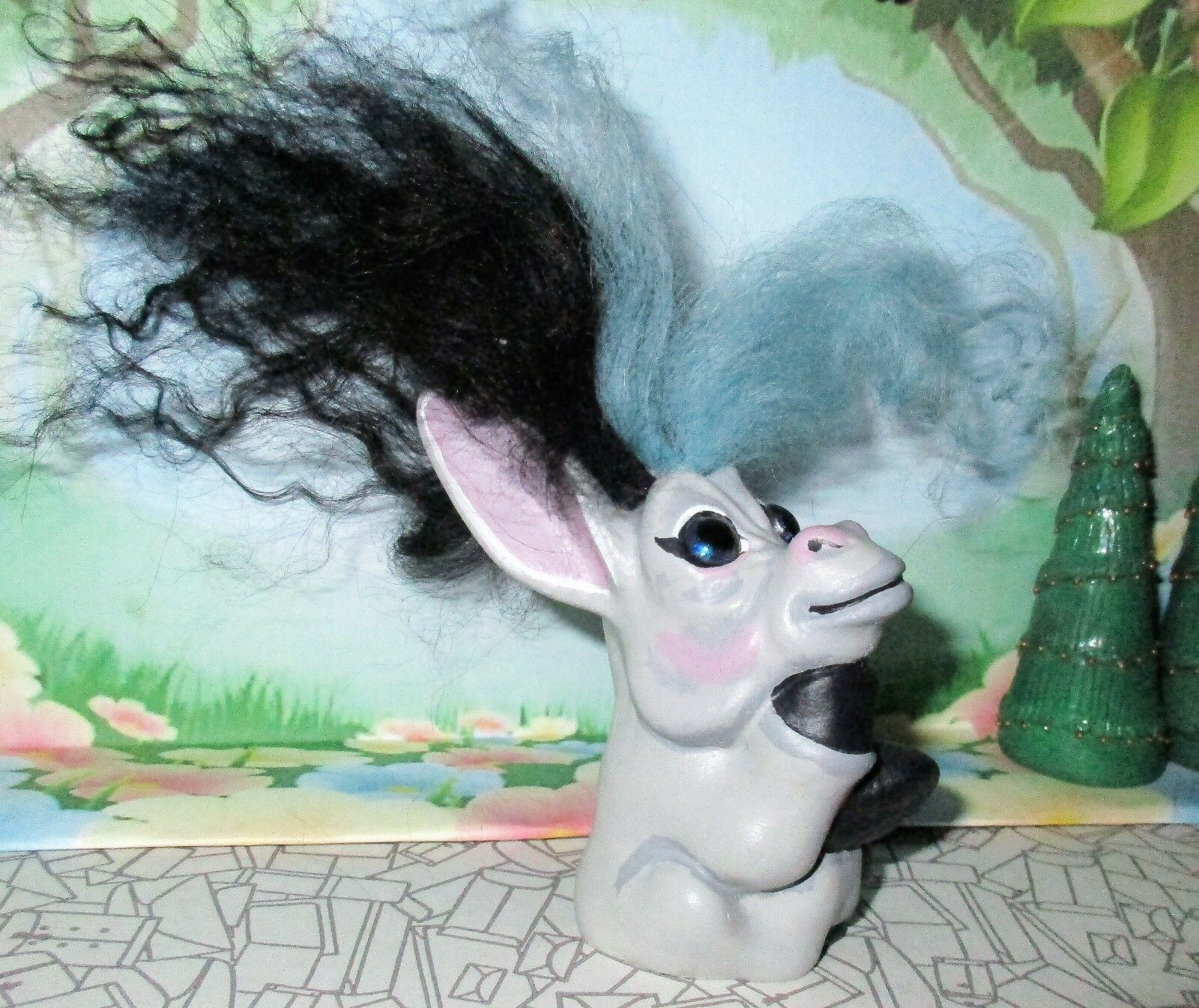 "DONKEY TROLL 3"" ooak doll Restore 2-tone new hair/paint black blue DAM finger"