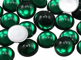 KraftGenius Allstarco 5mm Green Emerald .MD Flat Back Acrylic Round Cabo... - $4.45