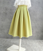 A-line High Waisted Winter Midi Party Skirt Wool-blend Midi Skirt Lime Green image 3