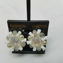 West German White Plastic Cluster Silver Tone Clip Earrings Vintage - $15.83