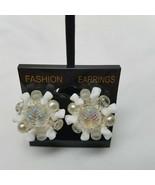 West German White Plastic Cluster Silver Tone Clip Earrings Vintage - $15.83