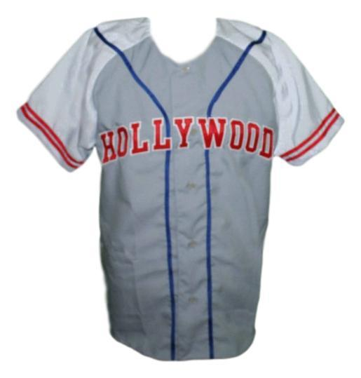 Hollywood Stars Retro Baseball Jersey 1950 Button Down Grey/White Any Size
