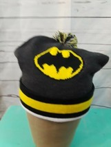 DC Comics Batman Yellow Black Pom Pom Knit Winter Ski Hat Cap Beanie - $9.49