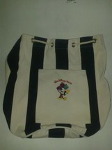 Genuine Walt Disney World Canvas Beach Bag with WDW Logo Blue/White Drawstring - $14.24