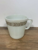 Vintage Pyrex Corning White Milk Glass Coffee Mug Cup Woodland Brown Floral - $11.88