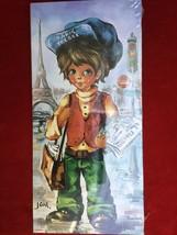 Two Vintage 60s Big Eyed Parisian Gavroche Boys Cartoons Paintings Wall ... - €20,53 EUR