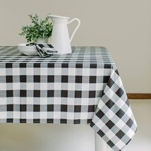 """Benson Mills Black/White Check Plaid Indoor/Outdoor Tablecloth 60 x 84"""" - $32.00"""