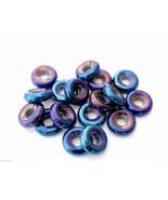 50 8 x 2.5 mm Czech Glass Donut Beads: Iris - Blue - $2.88