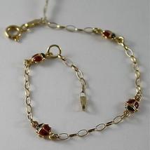 Yellow gold bracelet 750 18k Infant bimbo, with Enamel ladybugs - $364.89
