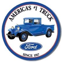 Ford Trucks #1 V8 Car Dealer Logo Retro Round Wall Garage Decor Metal Tin Sign - $15.99