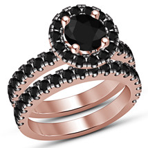 14K Rose Gold Finish Real 925 Silver Black Simulated Diamond Bridal Ring... - $88.79