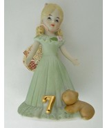 Growing Up Birthday Girls Enesco Age Seven Porcelain Blonde Hair Figurine 1981  - $17.70