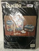Vintage Bucilla Needlepoint Plastic Canvas Bouquet Vanity Treasure Boxes 6060 - $24.31
