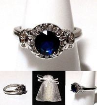 NEW #451 Ring Size 7 Simulated Diamond Sapphire Stamped 925 - $19.99