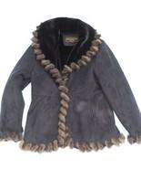 Marvin Richards Daim Noir & Fausse Fourrure Veste Taille XL g50 - $49.49